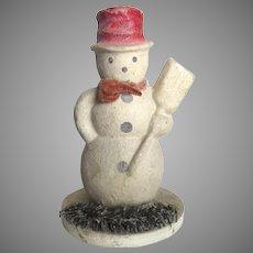 Vintage Pulp Paper Snowman Decoration Top Hat Broom