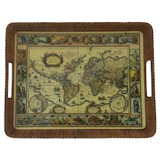 Vintage Large Rattan World Map Tray with Side Handles
