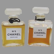 2 x Vintage Chanel Perfume Parfum No. 5 Bottles made in France