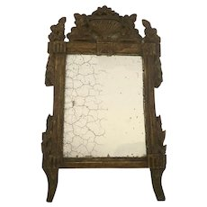 French 19th century  Mirror Gilt and Painted with Top Cartouche