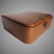 Vintage California Saddle Leather Snap Closure Stud Jewelry Ring Cufflink Box
