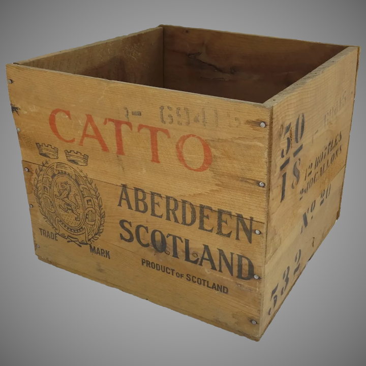 Vintage Wooden Crate Box Catto Catos Scottish Whisky Aberdeen Storage Red Strips Stamps