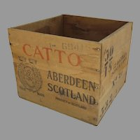 Vintage Wooden Crate Box Catto Cato's Scottish Whisky Aberdeen Storage Red Strips Stamps