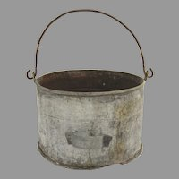 Vintage Large Galvanized Swing Handle Bucket Planter