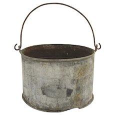 Vintage Large Galvanized Swing Handle Bucket Planter