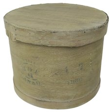 Vintage Large Pantry Storage Box Round with Lid Stencil Writing