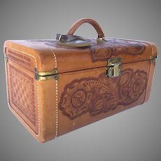 Vintage Mexican Leather Tooled Cosmetic Train Case By FLORES Luggage Suitcase