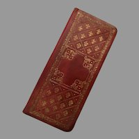 Vintage Italian Italy Gilt Tooled Leather Game Bridge Notepad with GF Cross Pencil