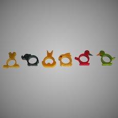 Vintage Set of Six Bakelite Napkin Rings Elephant Bunny Bird Teddy Bear