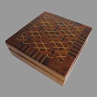 Vintage Hinged Geometric Inlaid Box Rich Patina