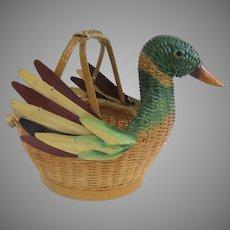 Vintage Shanghai Handicrafts Bird Duck Basket Container Handle