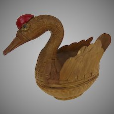 Vintage Shanghai Handicrafts Bird Swan Two Part Basket Container