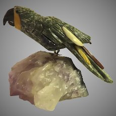 Vintage Carved Stone Parrot Bird on Quarts Rock B.2648