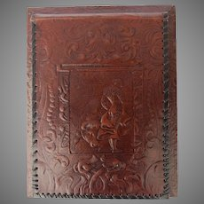 Vintage Tooled Leather Spain Spanish Notepad Cover Lashed Edges