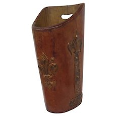 Leather Repousse Copper Renaissance Revival Trash Waste Basket Can Fleur de Lis