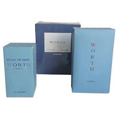 Group of Three Worth Paris Je Reviens Perfume Huile de Bain Lalique Skyscraper