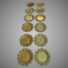 Set of Wonderful 1900's Brass Repousse Plate Chargers