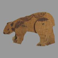 Folk Art Articulated Wood Bear