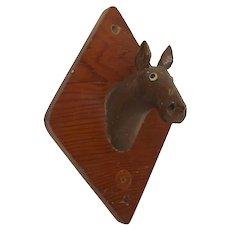 Folk Art Hand Carved Horse Head Trophy Mount