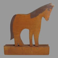 Vintage Folk Art Painted Wooden Horse