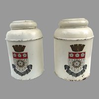Vintage Pair of Yorkshire England Coat of Arms Crest Tea Canisters Tole Painted