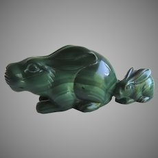 Vintage Hand Carved Malachite Rabbit Bunny and Baby