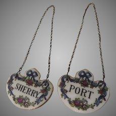 "Two Vintage Coalport Porcelain Decanter Labels Tags ""Port"" and ""Sherry"" Bar Ware"