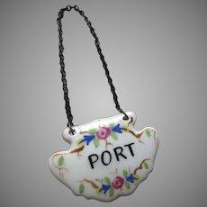 """Vintage Porcelain Decanter Tag Label """"Port"""""""