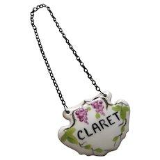 "Vintage Porcelain Hand Painted Decanter Label for ""Claret"""