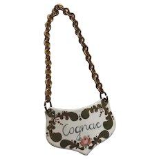 """Nice Vintage Enamel Decanter Label Tag """"Cognac"""""""