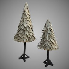 Two Vintage Large Birch Bark Christmas Trees and Stands Decoration