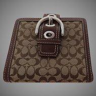 Vintage Brown Signature Leather Buckle Coach Wallet