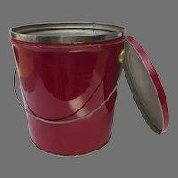 Vintage Tin Red Bucket Handle Storage