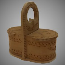 Vintage Miniature Scandinavian Chipped Carved Tine Basket Box