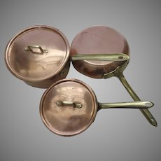 Vintage Set of Three (3) Copper Pans Made in Italy