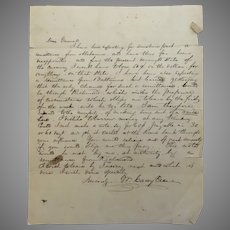 Letter from William Carey Crane (President Baylor) to General Jesse J. Armstrong February 1842