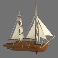 Vintage Hand Made Two Masted Scooner Sail Boat Wooden Sails Model