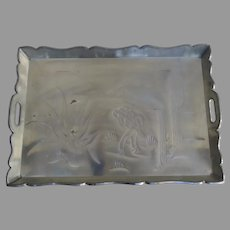 Large Vintage Mexican Tin Tray Serving Cactus