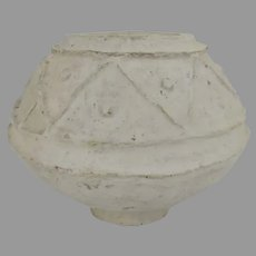 Vintage White Paper Mache Bowl Geometric Design