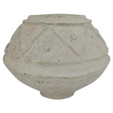 Vintage White Paper Mache Bowl Geometric Design