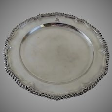 English 19th Century Silverplate Charger Plate with Engraved Family Crest Armorial Winged Dragon
