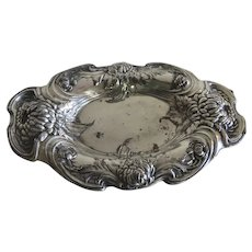 1900's Silver Plate Pin Dish Soap by Queen City Silver Chrysanthemum Design Motif