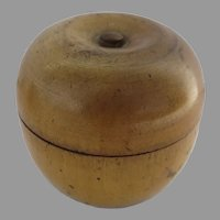 Early 19th Century Turned Wood Treen Box Caddy Apple Shaped