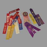 Vintage Group of 17 Award Ribbons 1st Place Gardening Dog '70's '80's