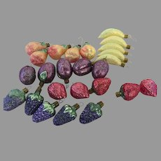 Vintage Large Group of 15 Sugared Fruit Banana Strawberry Grapes Plums Pears Made in Germany