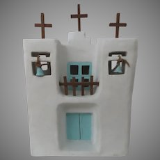 Vintage Model of Adobe House by Sarah Beserra  Southwest Folk-Art Church Mexico Mission 1989
