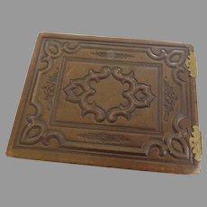 19th Century Leather Large Photo Album Brass Clasps Hinges Bows