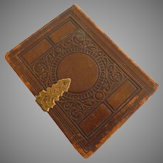 19th Century Leather Photo Album Brass Clasp Hinge
