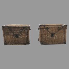 Pair Large Wicker Steamer Trunks Ships End Tables
