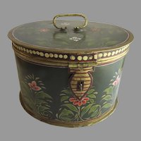 Vintage Hand Painted Round Hinged Box with Top Handle Cake